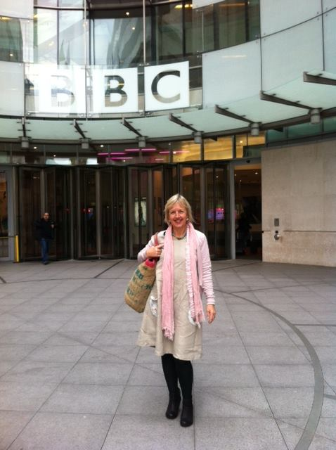 Polly on her way to talk about The Ferguson's Gang on Midweek at Radio 4